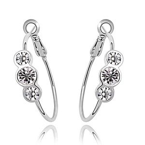 Jewelry - Silver Tone Crystal Hoop Earrings